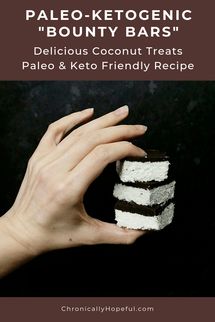 Char's hand holding a stack of 3 coconut treats. Title reads: Paleo-ketogenic bounty bars. Delicious coconut treats. Paleo and Keto friendly recipe.