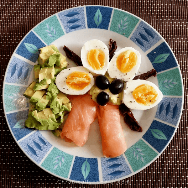 Eggs, Salmon, Avocado, Olives