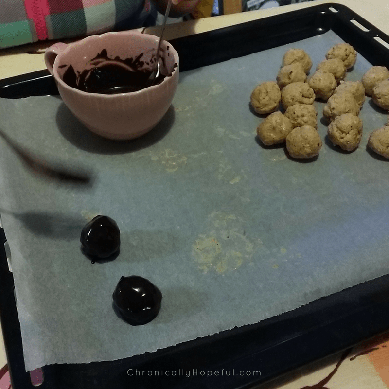 Coating truffles in chocolate