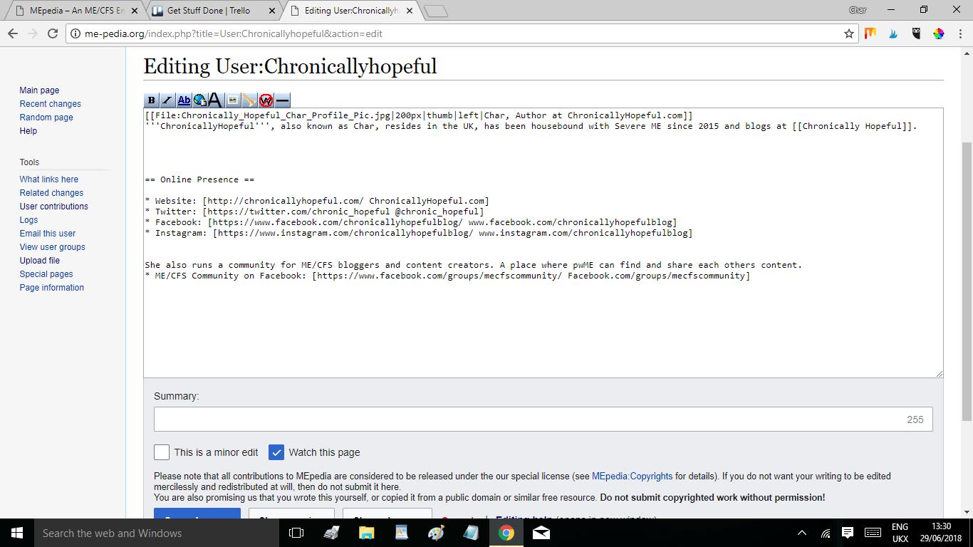 ME-pedia Edit User Profile page