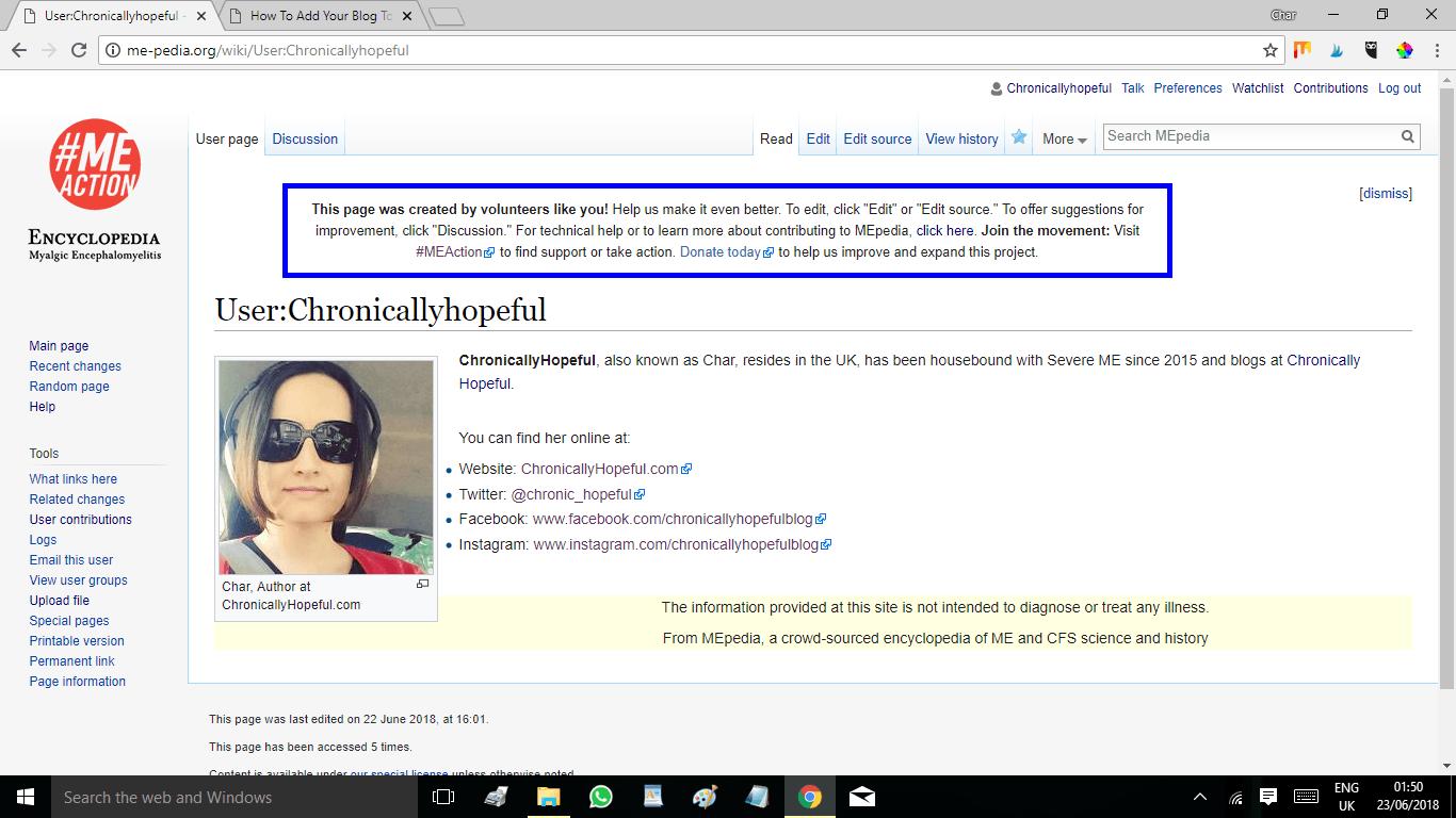 ME-pedia User Profile page
