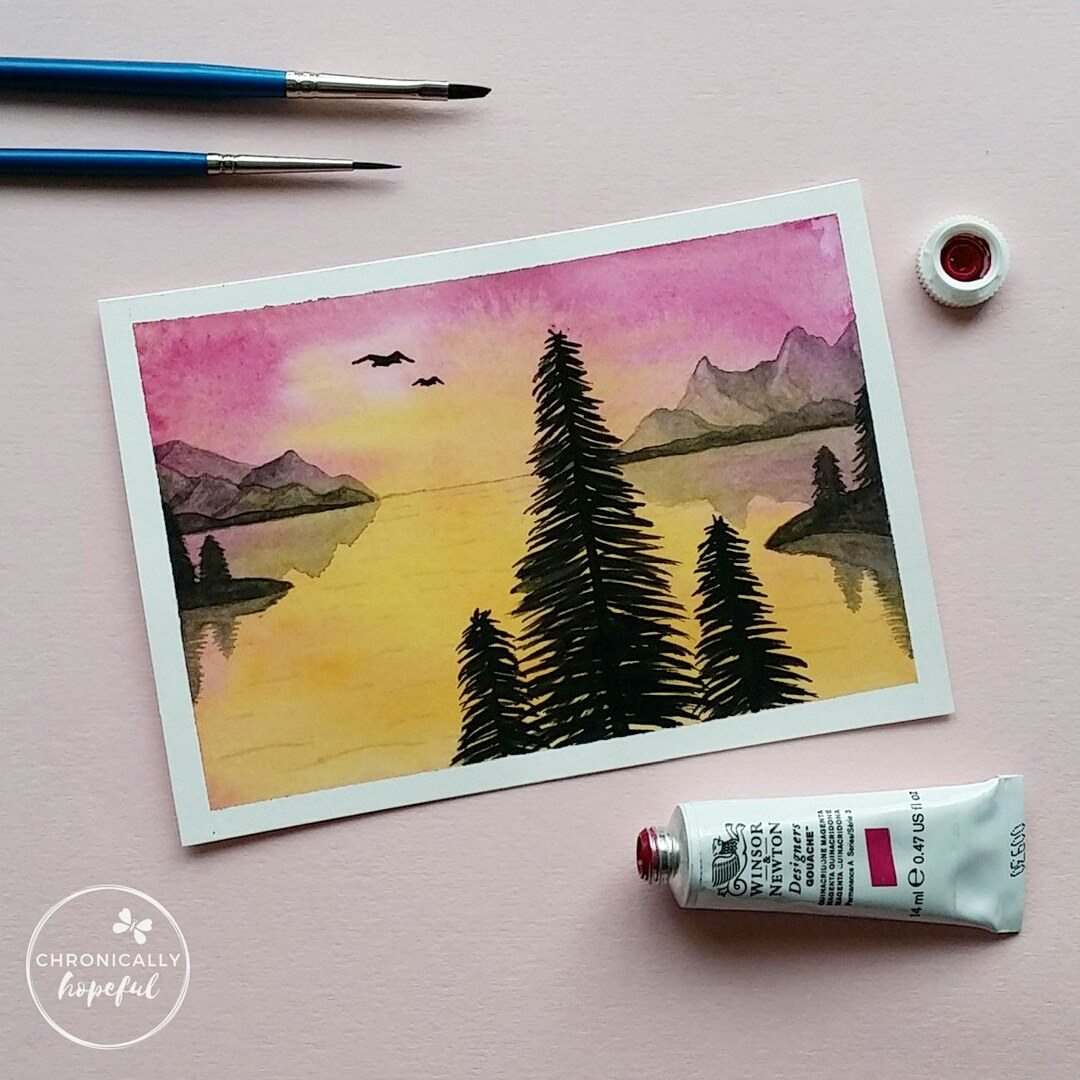 The 100 Day Project, Watercolour Sunset, Pink Mountains