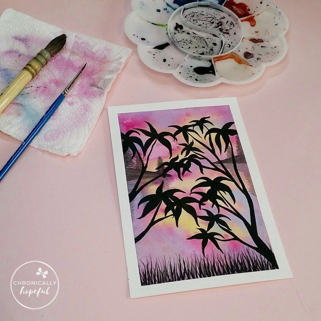 The 100 Day Project, Watercolour Sunset, Pink Trees