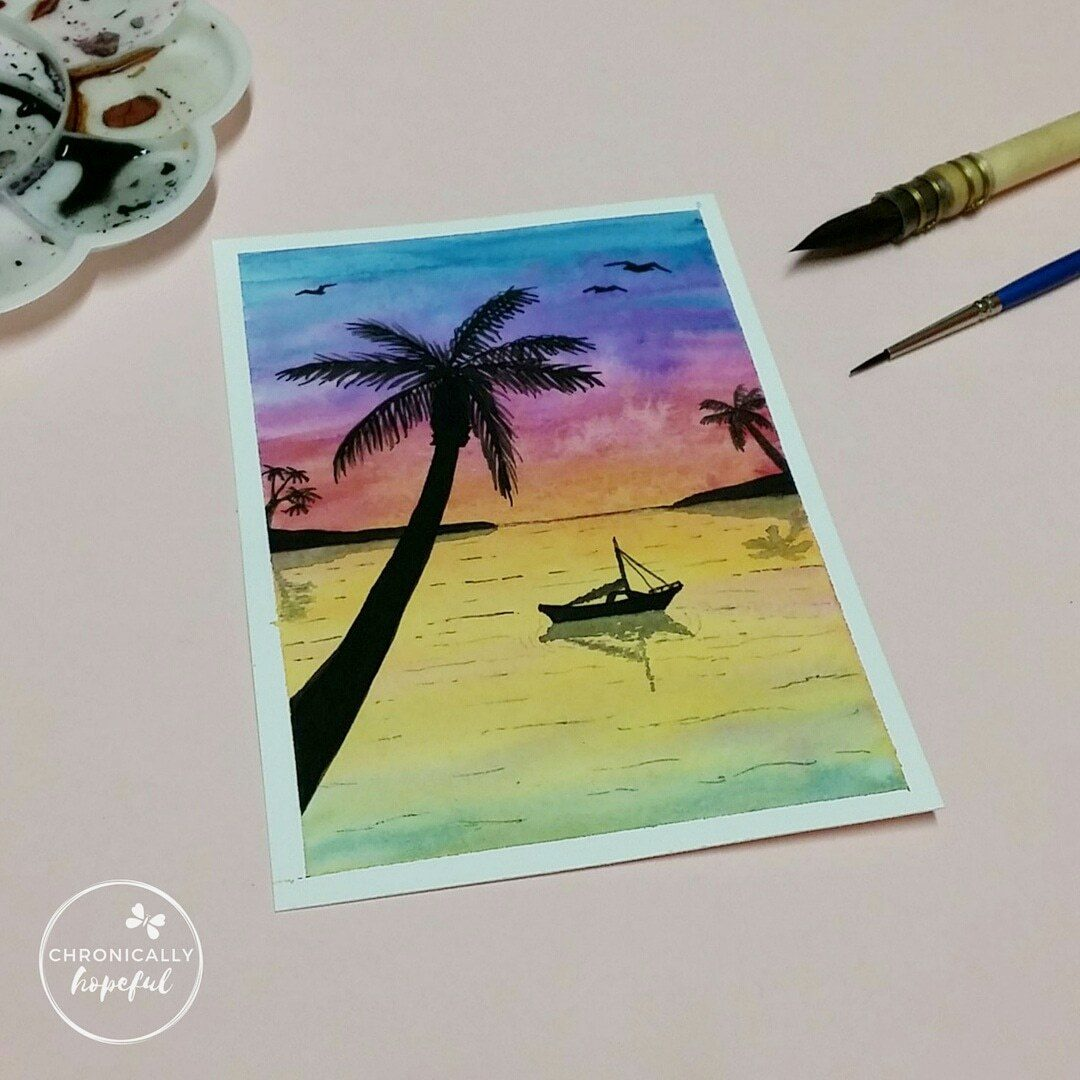 The 100 Day Project, Watercolour Sunset, Rainbow Seaside
