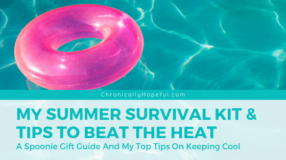 A pink donut tube floating in a swimming pool. Title reads, Summer survival kit and Tips to beat the heat.