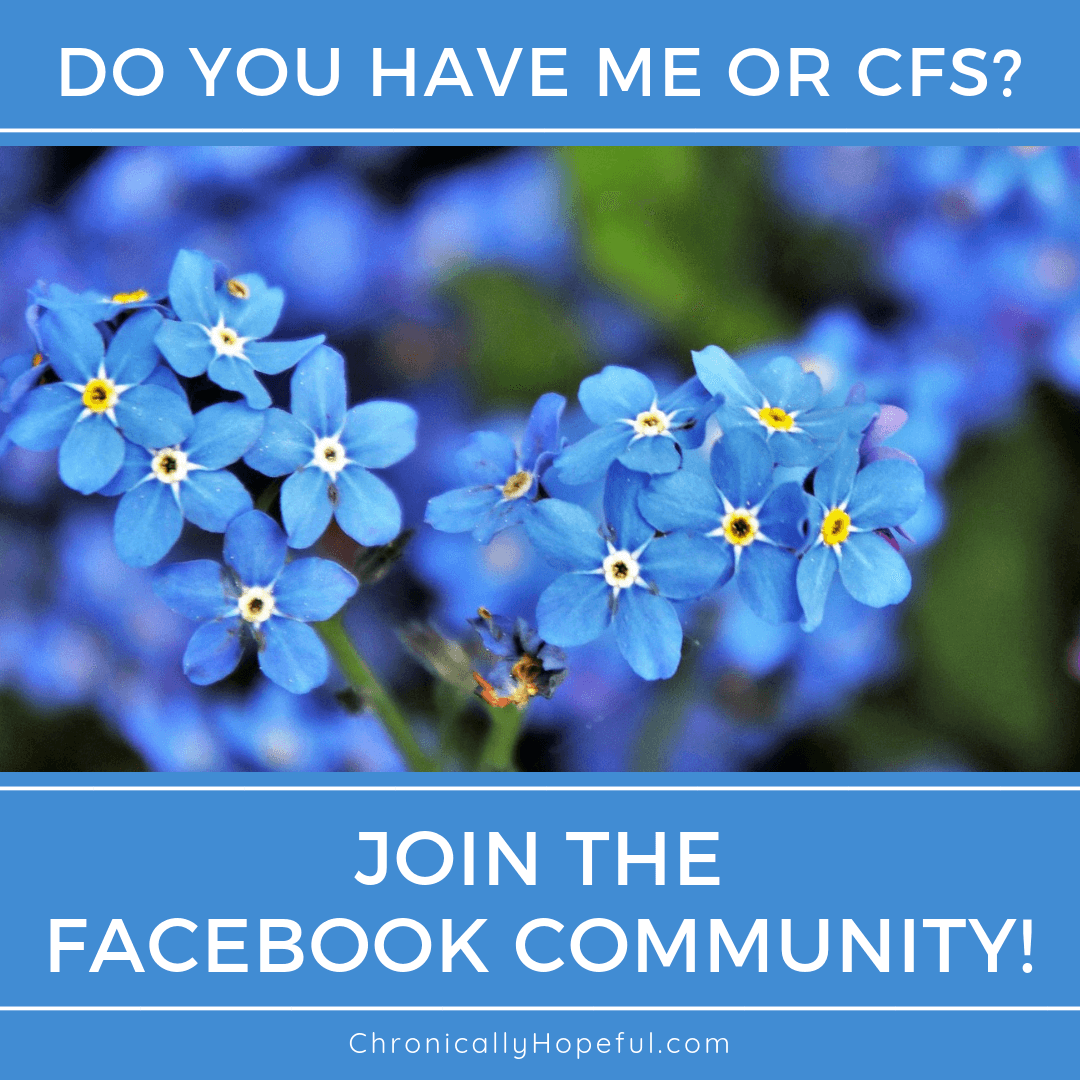 a bunch of blue forget-me-nots, caption reads, Do you have ME or CFS? Join the Facebook community