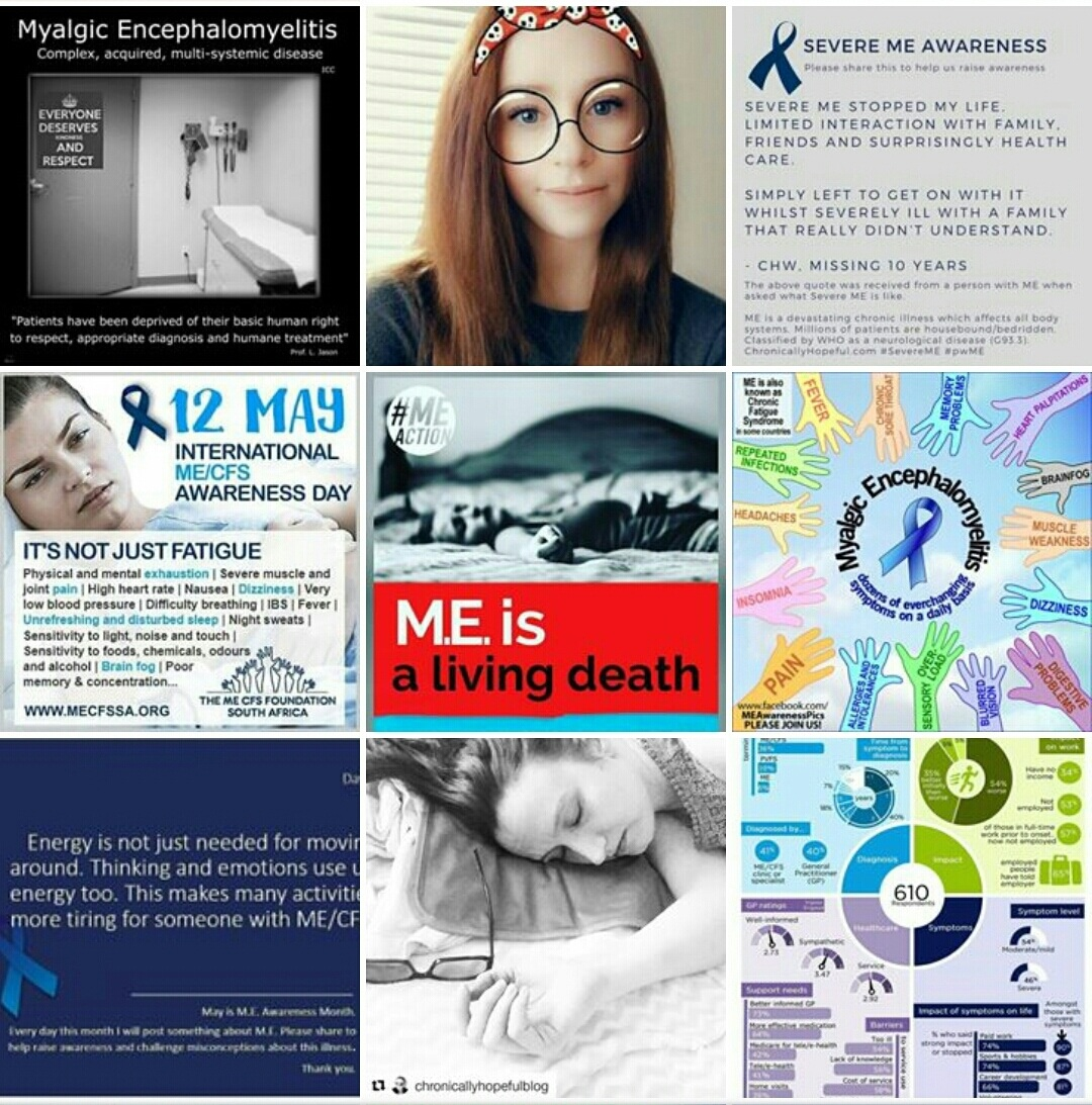 Collage of ME Awareness Pictures, Chronically Hopeful
