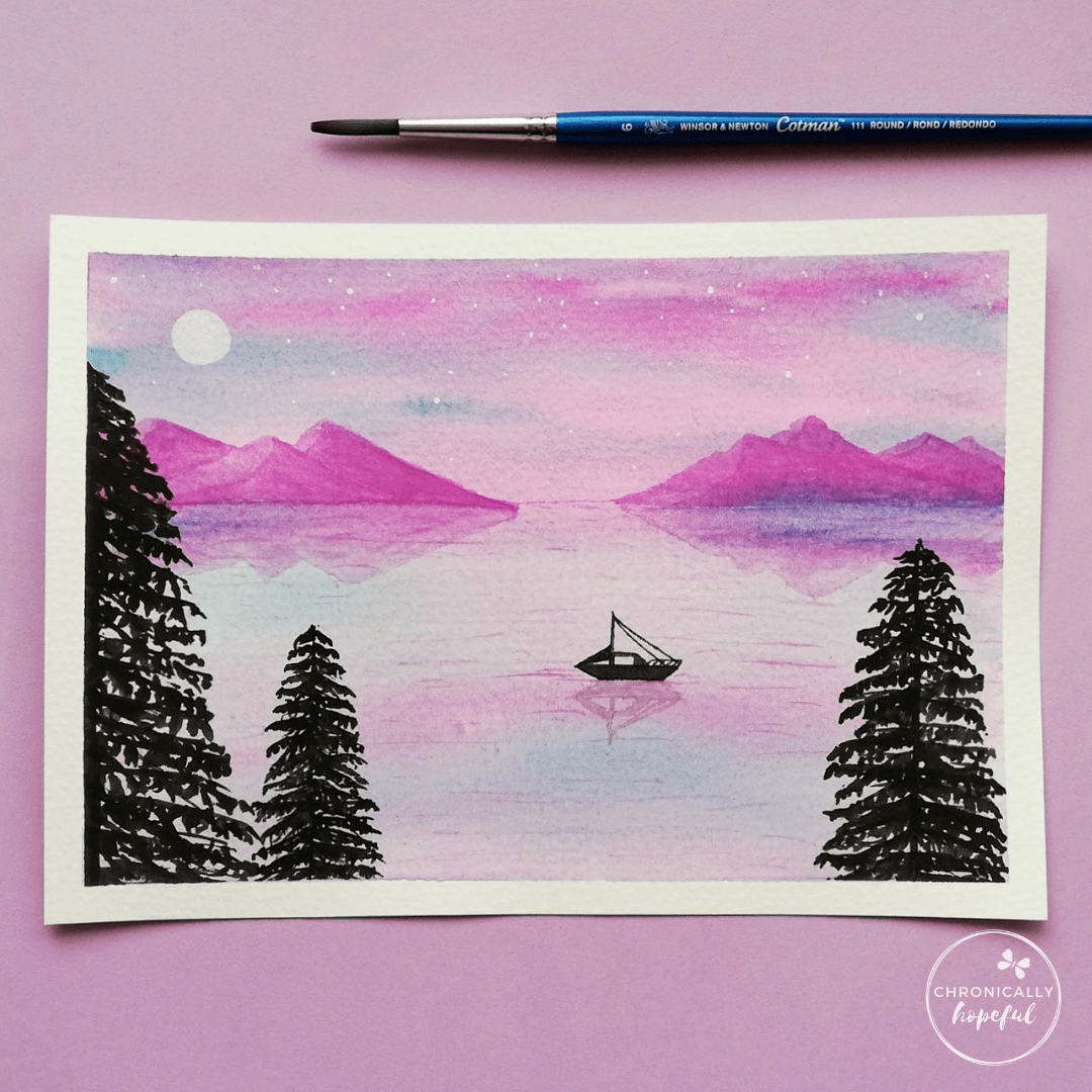 Night time lake and mountains scene with boat, moon and stars and 3 conifers in the foreground, by Chronicaly Hopeful Char