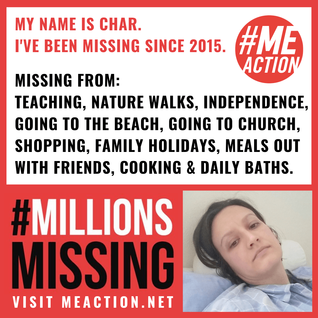 Char has been missing from teaching, nature walks, independence, going to the beach, going to church, shopping, family holidays, meals out with friends, cooking and daily baths since 2015. MillionsMissing.org, Char lying on the bed, feeling ill.