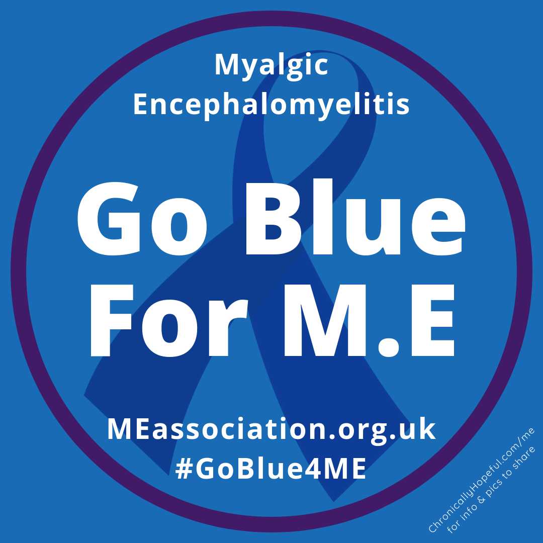 Profile picture to support ME Association's #GoBlue4ME campaign, designed by Chronically Hopeful Char