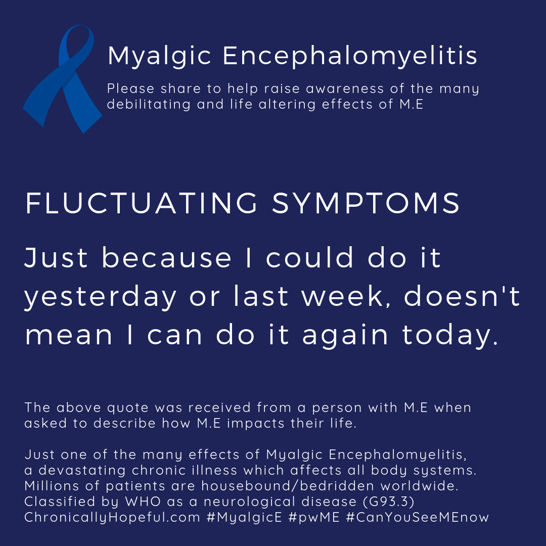 ME Awareness picture, Title reads, Fluctuating Symptoms, Just because I did it yesterday or last week, doesn't mean I can do it again today. Just one of the effects of Myalgic Encephalomyelitis.