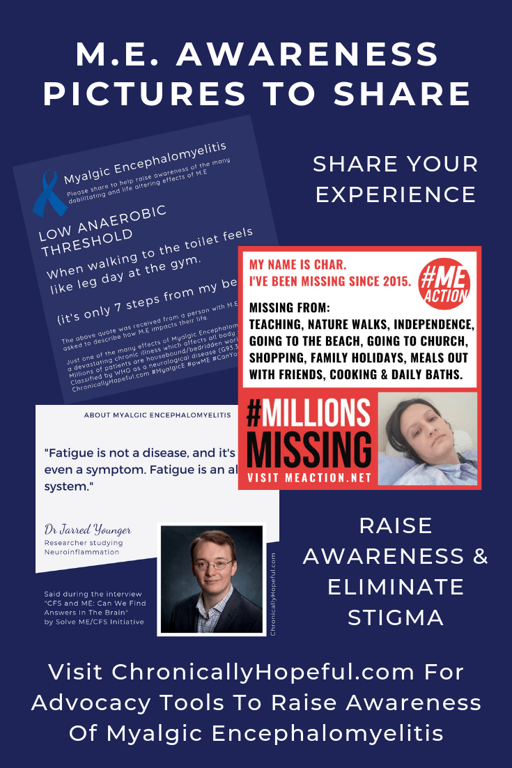 3 Thumbnails of awareness pictures, Title reads, M.E. Awareness Pictures To Share. Visit ChronicallyHopeful.com for advocacy tools to raise awareness of Myalgic Encephalomyelitis.