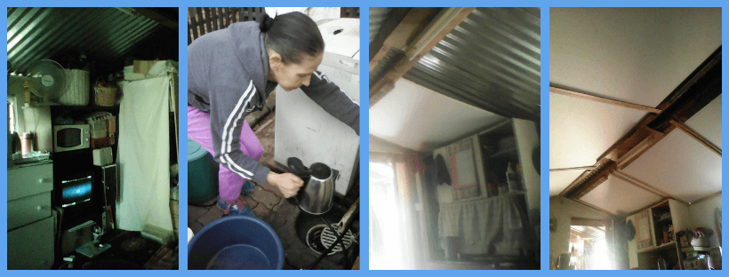 Photos of the inside of a shed which people with M.E. live in, South Africa.