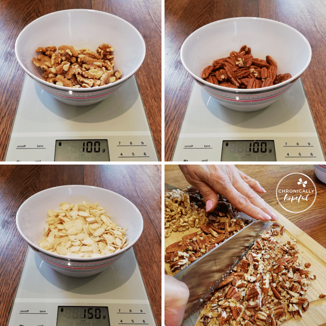 Walnuts, Pecans, Almonds being measured and chopped