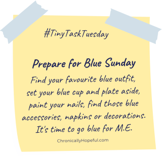 A post-it note with this week's Tiny Task Tuesday, prepare for Blue Sunday