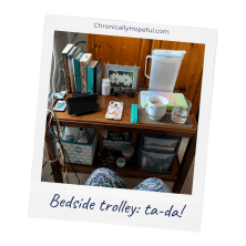 Char's bedside trolley, all tidied up