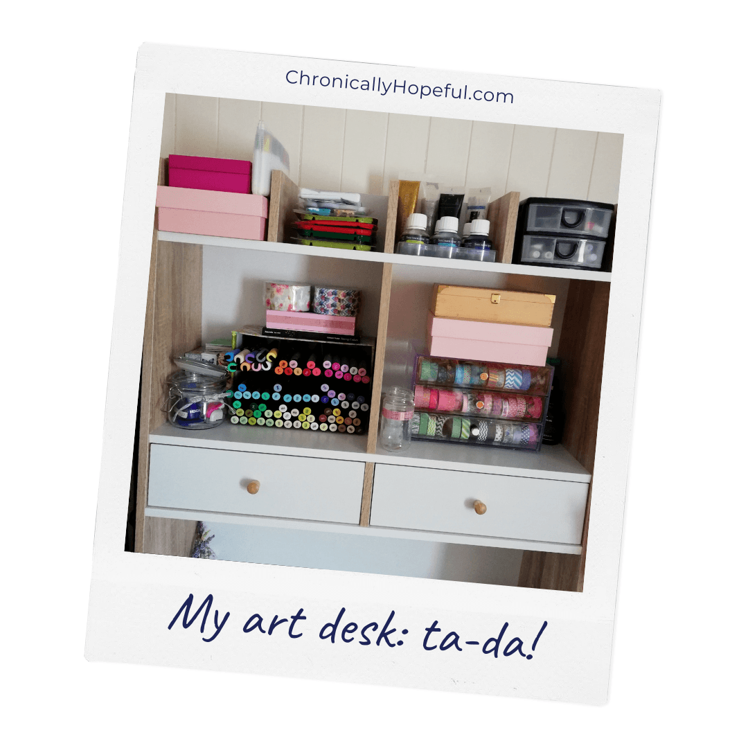 Char's art supplies neat and tidied