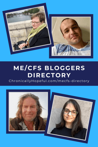 """Four photos of ME bloggers, title reads """"ME/CFS bloggers directory"""""""