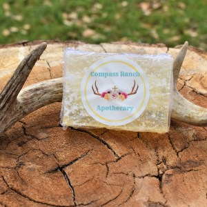relief soap propped by a deer antler