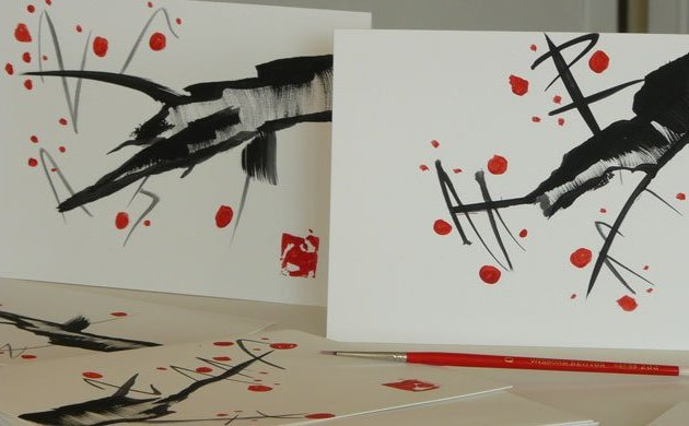 meaningful gifts - home made water color Christmas Cards with the spacious flavor of Asian art