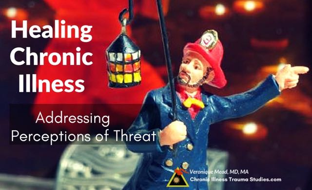 Treating Chronic illness by working with the nervous system to decrease the perception of threat. A post in the chronic illness blog, Chronic Illness Trauma Studies #ME/CFS #type1diabetes #asthma #RA #MS #IBD