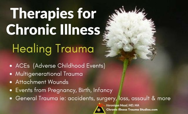 Healing trauma. Therapies and treatment for chronic illness address adverse childhood experiences [ACEs), multigenerational trauma, complex trauma / attachment trauma, events from pregnancy, birth infancy; general trauma such as accidents, surgery, assault, loss and more