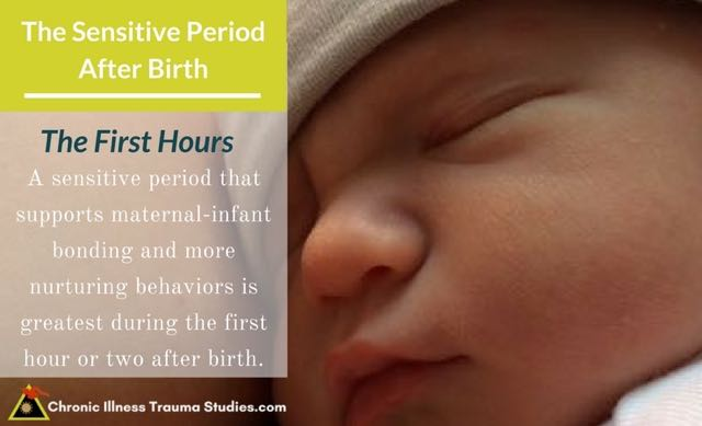 Babies are highly sensitive to their surroundings and experiences which affect long-term health, perceptions of threat and sensitivity to stress. The first hour or two after birth are among the most sensitive for maternal-infant bonding, which affects genes and long-term health. This is one of the links between chronic disease, epigenetics and stress
