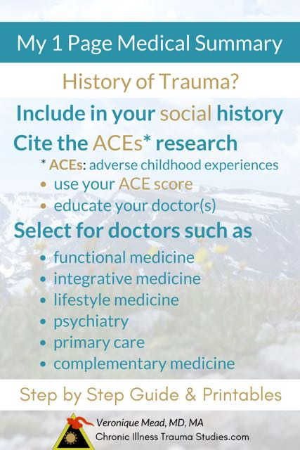 Educate your doctor about trauma as a risk factor for chronic illness on your patient medical history. Summarize your history onto one page for new doctor appointments that will empower you and help your doctor listen. For chronic pain, autoimmune diseases such as type 1 diabetes, MS, lupus, IBD / Crohn's, chronic fatigue syndrome ME/CFS, fibromyalgia, rheumatoid arthritis / disease, IBS, and so much more