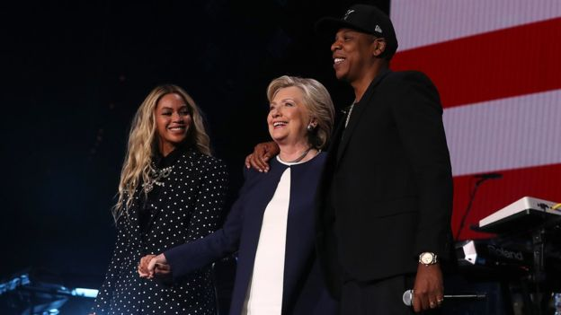 Beyonce and Jay Z join Hillary Clinton at a concert in Cleveland, Ohio Photo: Getty Images