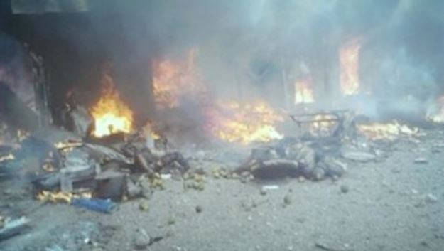 FILE: Scene of a bomb blast in Maiduguri, Borno State