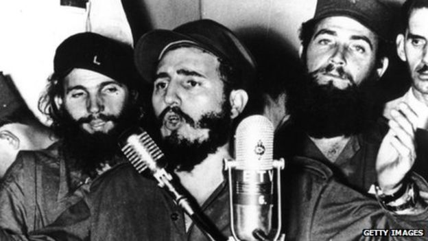 Fidel Castro during an address in Cuba after Fulgencio Batista was forced to flee