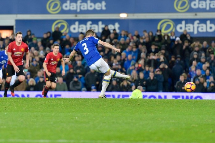 Leighton Baines converted the spot kick to hand Everton a draw