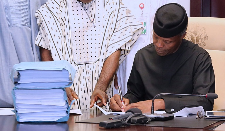 Nigeria's acting President, Prof Yemi Osinbajo has signed Forestry and Medical bills into law