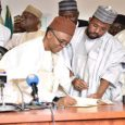 Gov. Nasir El-Rufai signing the budget into law. Photo: NAN
