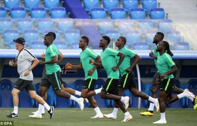 Nigeria train on Thursday in preparation for crunch clash against Iceland