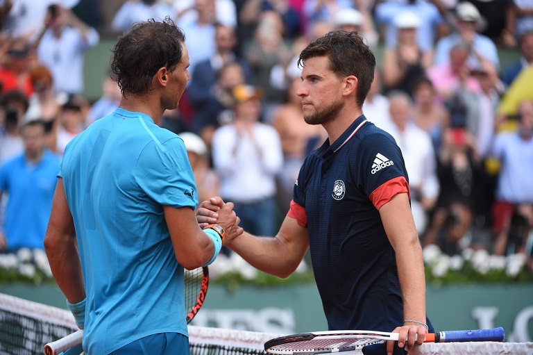 Rafael Nadal and Dominic Thiem shake hands after the game