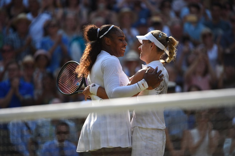 Angelique Kerber and Serena Williams share a warm hug after the #Wimbledon final
