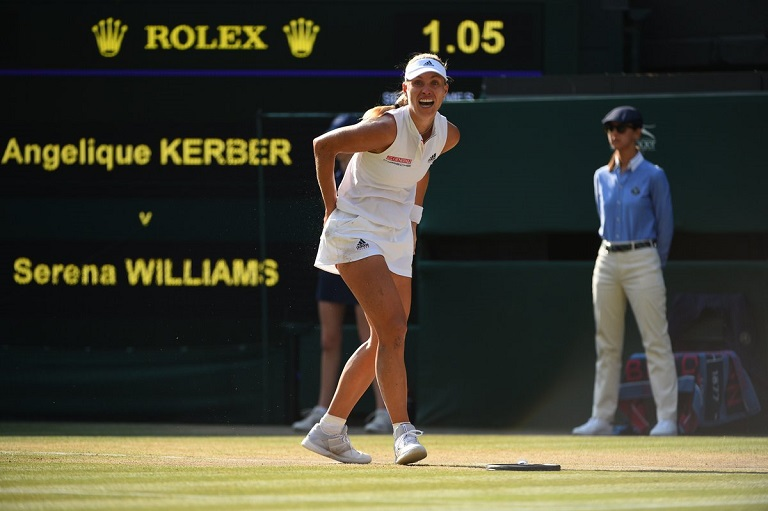 Angelique Kerber celebrates her first Wimbledon title