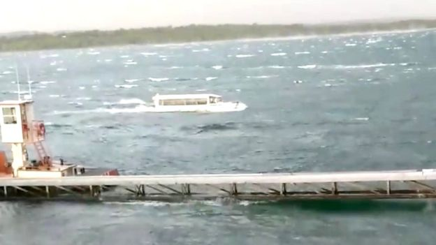 Footage posted on social media shows a duck boat battling severe weather on Table Rock Lake
