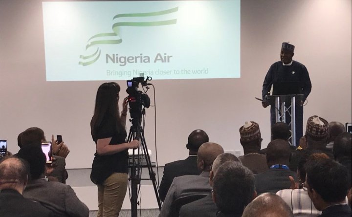 Hadi Sirika Minister of Aviation unveiling Nigeria's new carrier Nigeria Air