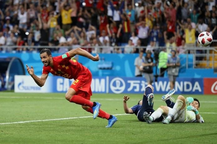 Nacer Chadli wheels away after scoring a late winner for Belgium against Japan