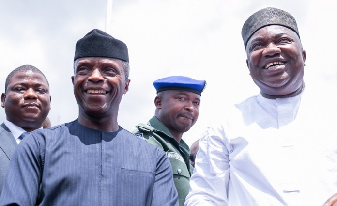 Nigeria's acting President Yemi Osinbajo and Governor Ifeanyi Ugwuanyi during his visit to the state