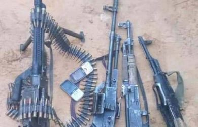 Nigeria Air Force recovered arms and ammunition after raiding kidnap kingpins den in Zamfara
