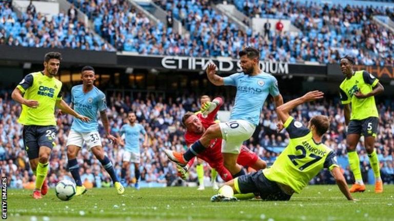 Sergio Aguero scored his 13th Manchester City hat-trick in 6-1 win over Huddersfield