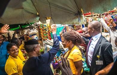Vice President Yemi Osinbajo, SAN, at Utako Ultra Modern Market for the official Launch of the Trader Moni Program in Abuja