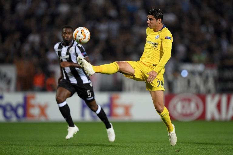 Alvaro Morata failed to take his chances against PAOK in the Europa League