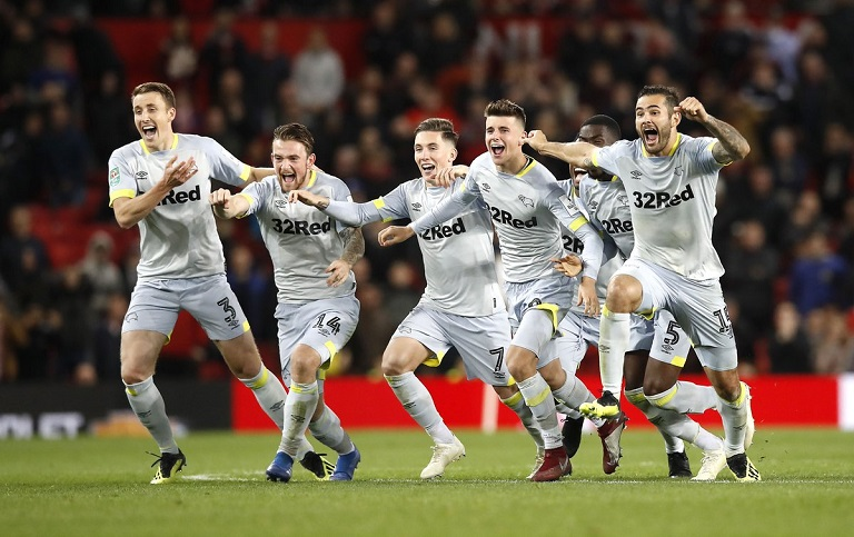 Derby County recorded a famous win against Manchester United at Old Trafford