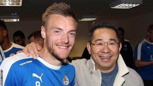 English forward Jamie Vardy with late owner Srivaddhanaprabha