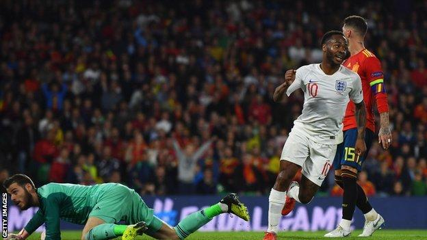 Raheem Sterling's pace and movement was too much for Spain's defence in the first half