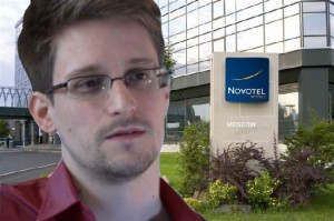 Snowden speaking from a Custom Faraday Cage in Sheremetyevo Airport's Hotel Novotel (Photo: The Internet Chronicle)
